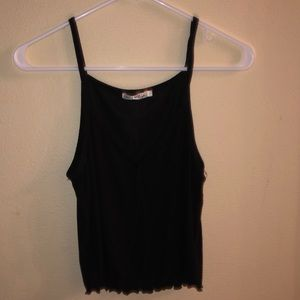 Black tank top with two buttons
